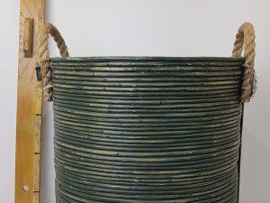 BASKET STRIPE D40H45CM OLIVE GREENWASH