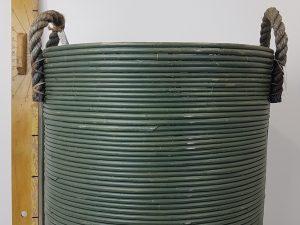 BASKET STRIPE D45H50CM OLIVE GREENWASH