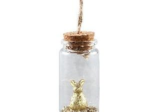 Alexia Gold rabbit in glass hanging bottle