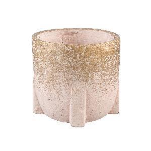 Amira Pink cement pot square base round L