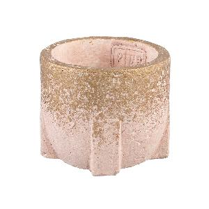 Amira Pink cement pot square base round XS
