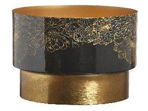 Elora Gold iron planter enamel flowers print round