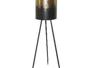 Kacy Gold metallic iron planter round black legs