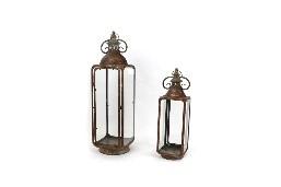 Metal lantern 20x20x71cm S/2