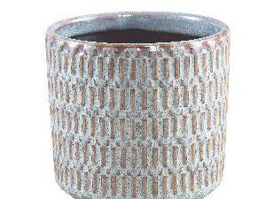 Tenzin Blue glazed ceramic blocked pot round L