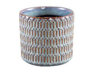 Tenzin Blue glazed ceramic blocked pot round M