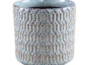 Tenzin Blue glazed ceramic blocked pot round XL