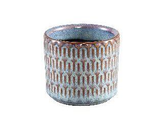 Tenzin Blue glazed ceramic blocked pot round XS