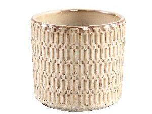 Tenzin Cream glazed ceramic blocked pot round L