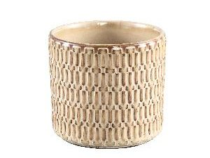 Tenzin Cream glazed ceramic blocked pot round M