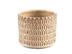 Tenzin Cream glazed ceramic blocked pot round S