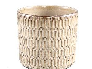 Tenzin Cream glazed ceramic blocked pot round XL