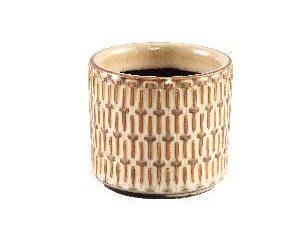 Tenzin Cream glazed ceramic blocked pot round XS