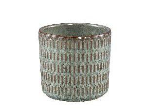 Tenzin Green glazed ceramic blocked pot round L
