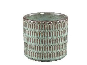 Tenzin Green glazed ceramic blocked pot round M