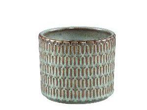 Tenzin Green glazed ceramic blocked pot round S