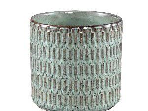 Tenzin Green glazed ceramic blocked pot round XL