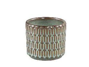 Tenzin Green glazed ceramic blocked pot round XS