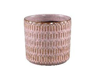 Tenzin Pink glazed ceramic blocked pot round L