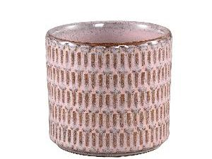 Tenzin Pink glazed ceramic blocked pot round M