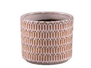 Tenzin Pink glazed ceramic blocked pot round S