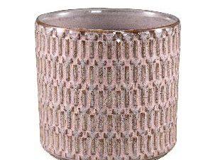 Tenzin Pink glazed ceramic blocked pot round XL