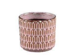 Tenzin Pink glazed ceramic blocked pot round XS