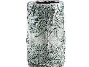 Xemm White glazed ceramic pot leaves small L