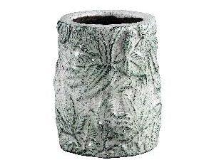 Xemm White glazed ceramic pot leaves small S
