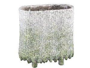 Zella Grey Green cement pot on feet oval M