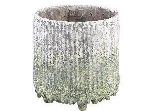 Zella Grey Green cement pot on feet round L