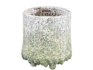 Zella Grey Green cement pot on feet round XS