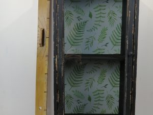 Cabinet wood with green/cream print inside 38x25x78cm