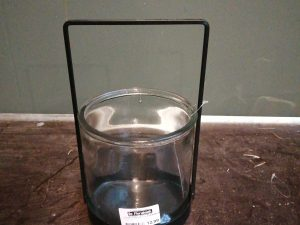 Candle holder glass / metal 15.5x15.5x26cmBlack
