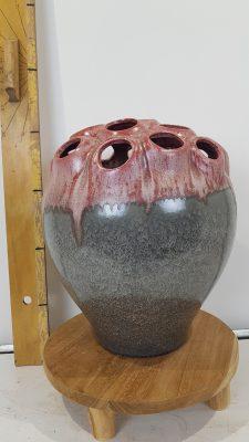 coral 3 vase holes grey-bordeaux 28x33cm