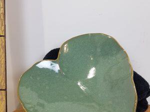 Dienblad aardewerk blad sage green