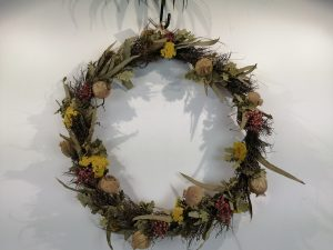 Dried flower ring ø 55cm in trayNatural