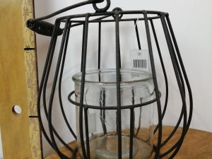 Metal wire lantern with glass 18x18x17/26cmGrey