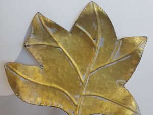 Tray Fig Leaf L34.5w31.0h5.5Goud