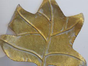 Tray Fig Leaf L39.0w36.0h5.5Goud