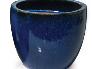 Glazed Egg Pot Blue D22H21