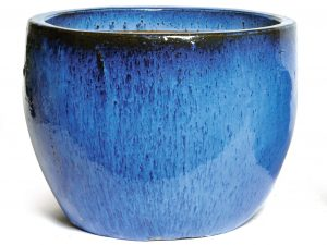 Glazed Egg Pot Blue D38H32