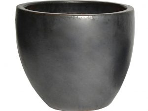 Glazed Egg Pot Matt Black D22H21