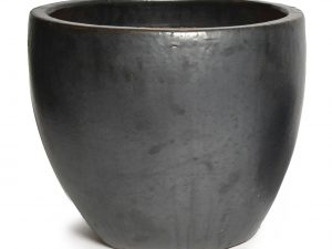 Glazed Egg Pot Matt Black D30H26