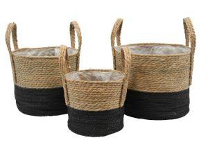 Basket seagrass natural/black