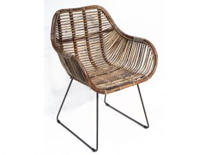 DINING CHAIR RATTAN/IRON BROWN