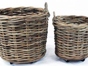 Basket Rattan cl Grey on wheels D65H60cm